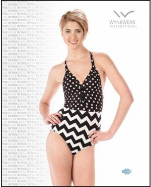Retro Button Down One Piece Swimsuit
