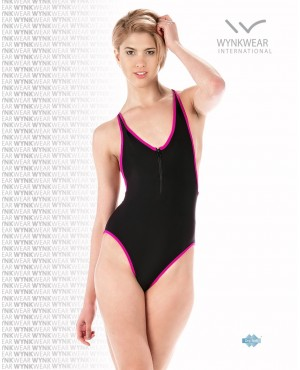 Black Fuchsia Front Zip One Piece