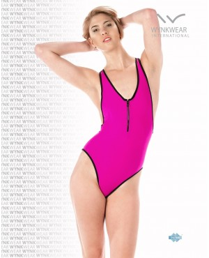 Fuchsia Black Front Zip One Piece