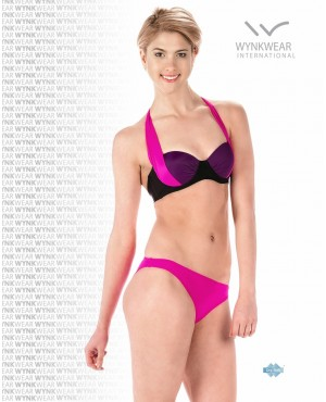 Fuchsia Colorblock Push Up Two Piece Swimsuit