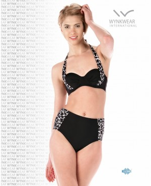 Black-White Printed Push Up Two Piece